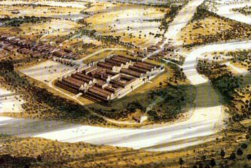 Painting showing the Roman fort of Manchester