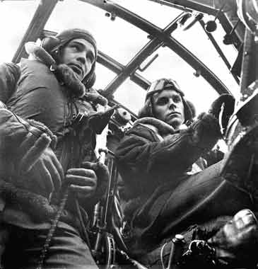 The pilot and co-pilot in the cockpit of a Wellington bomber